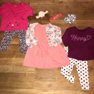 3 Adorable Baby Girl Outfits & Headbands, Size 6M